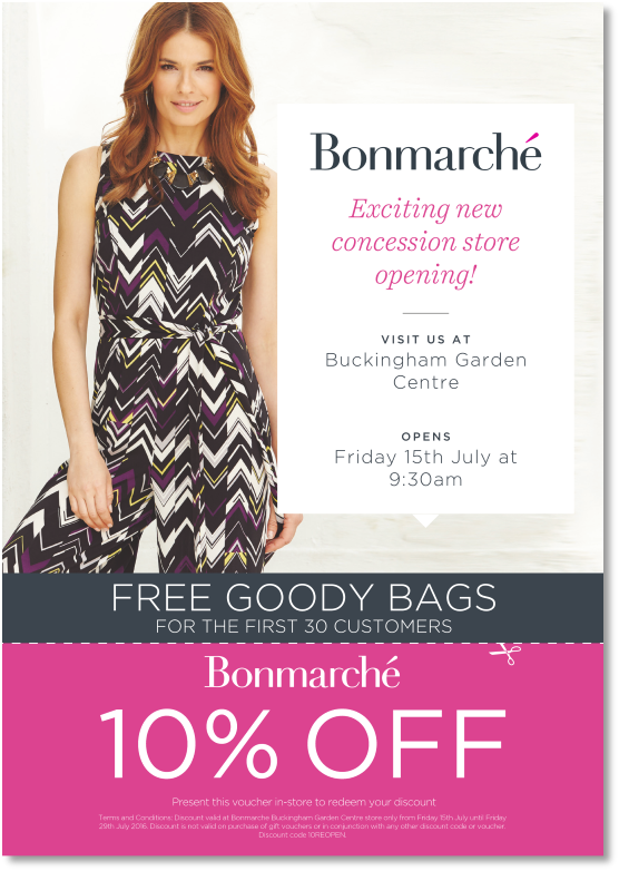 Bonmarché - opening at 9.30am on July 15th at Buckingham Garden Centre