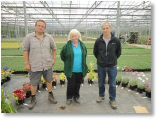 Gill Delaney (Buckingham Garden Centre) with Karl O'Neil and Andrian Maskell (Bransdford Webbs)
