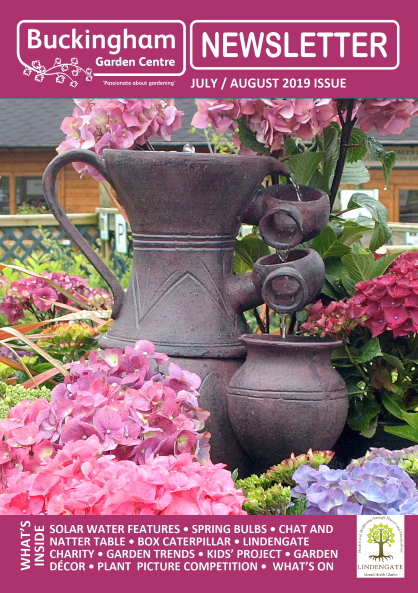 Buckingham Garden Centre's July/August 2019 newsletter front cover