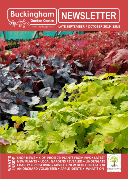 Buckingham Garden Centre's September/October 2019 newsletter front cover