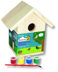 """Paint your own birdbox"" on sale at Buckingham Garden Centre"