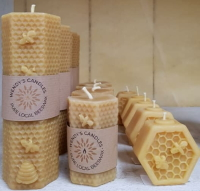 LOcal Beeswax candles available from Buckingham Garden Centre