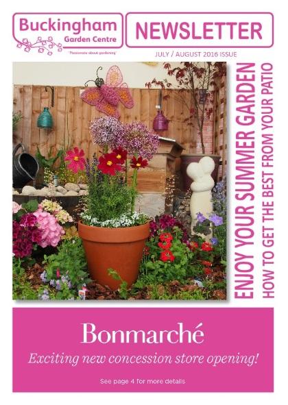 Buckingham Garden Centre Newsletter cover July/August 2016