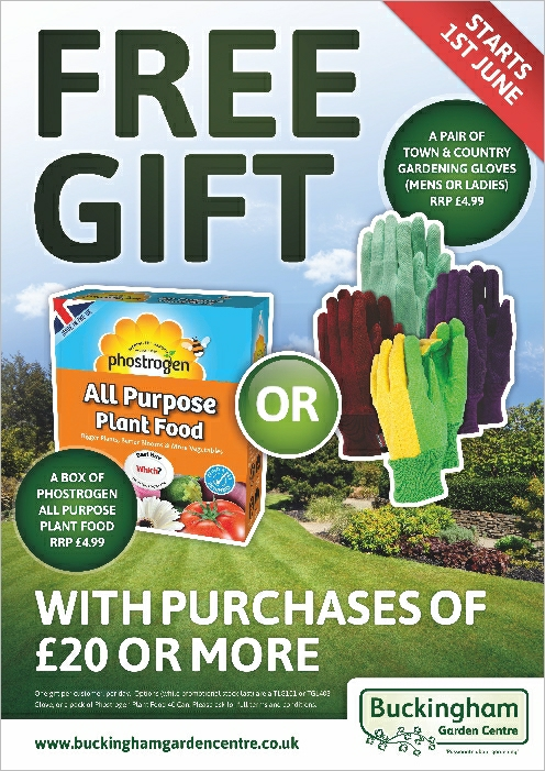 Spend over £20 and claim your free gift at Buckingham Garden Centre during June 2017