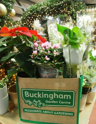 Christmas 2019 promotion at Buckingham Garden Centre - spend £30 or more and get a free jute bag!