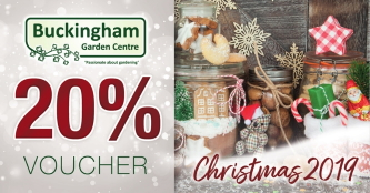Christmas 2019 promotion at Buckingham Garden Centre - spend £30 or more and get a voucher for 20% in the New Year (Ts&Cs apply)!