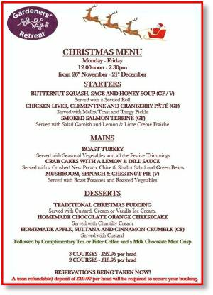 Christmas menu in the Gardeners' Retreat at Buckingham Garden Centre