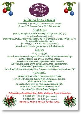 Christmas menu at Buckingham Garden Centre