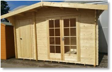 Bourne log cabin available from Buckingham Garden Centre