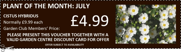 Buckingham Garden Centre Garden Club Member voucher for June/July 2017