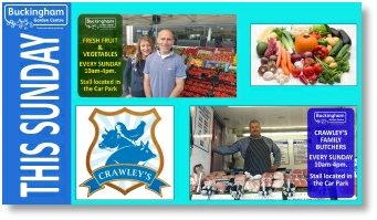 Greengrocer and butcher at Buckingham Garden Centre